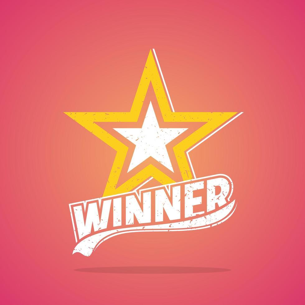 """""""Gewinner"""" Grunge Star Retro Design vektor"""