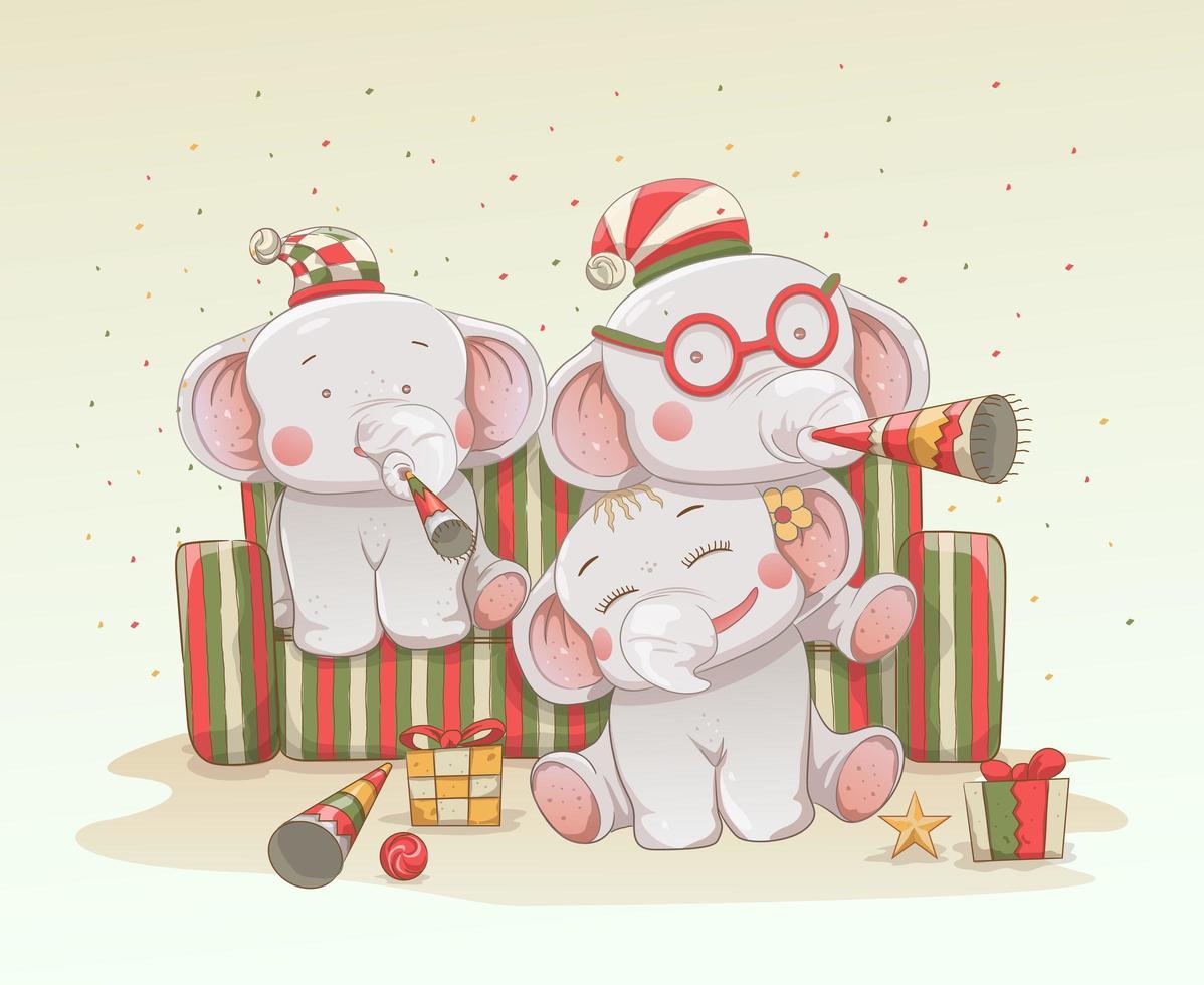 Drei süße Elefantenbabys feiern Weihnachten vektor
