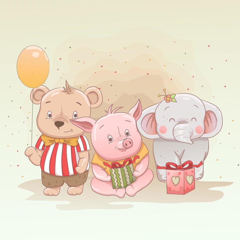 niedlicher Babybär, Ferkel und Elefant mit Geschenken vektor