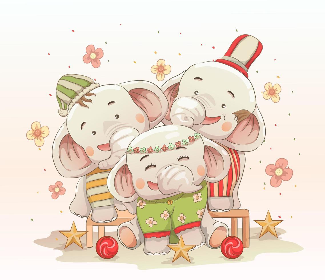söt elefantfamilj som firar jul tillsammans vektor