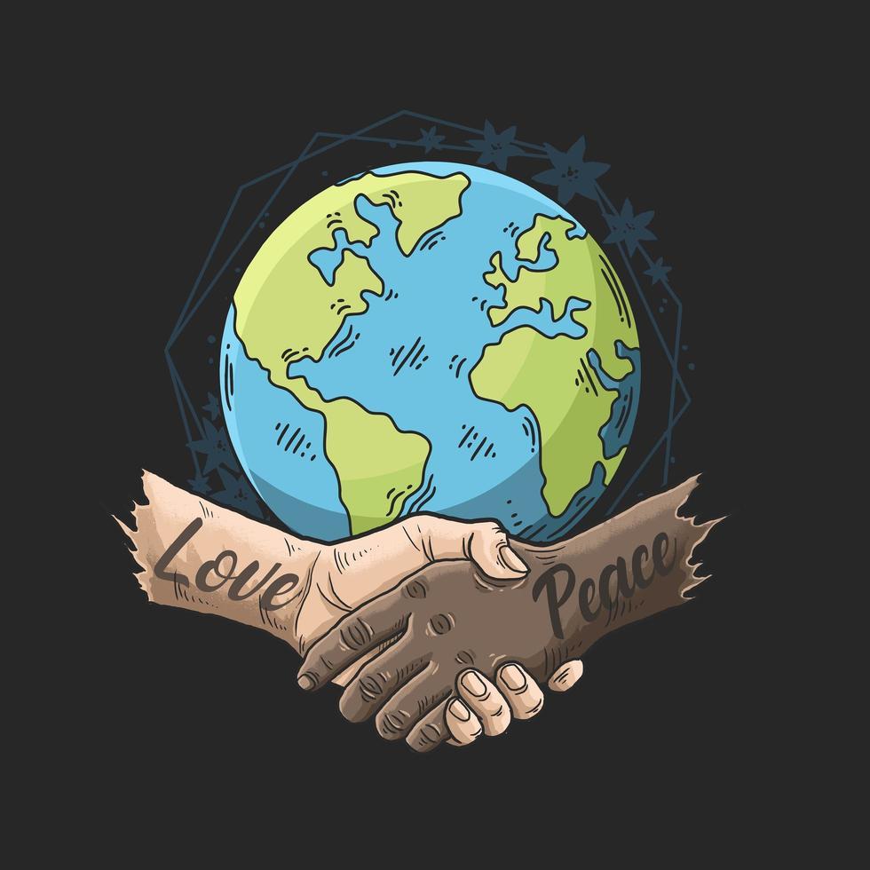vielpunktige Liebe und Frieden verschränkten die Hände über dem Globus vektor
