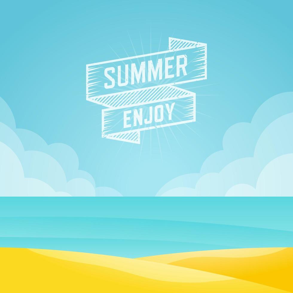sommaren njuta av banner och havslandskap vektor