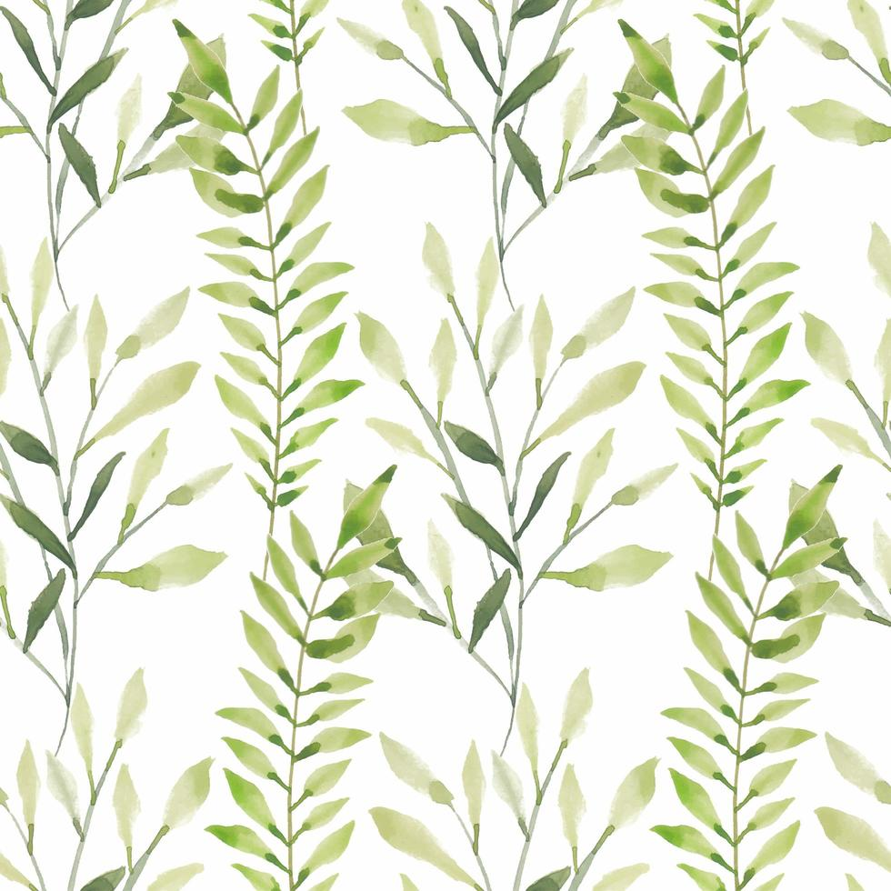 sömlös akvarell grönt bladmönster vektor