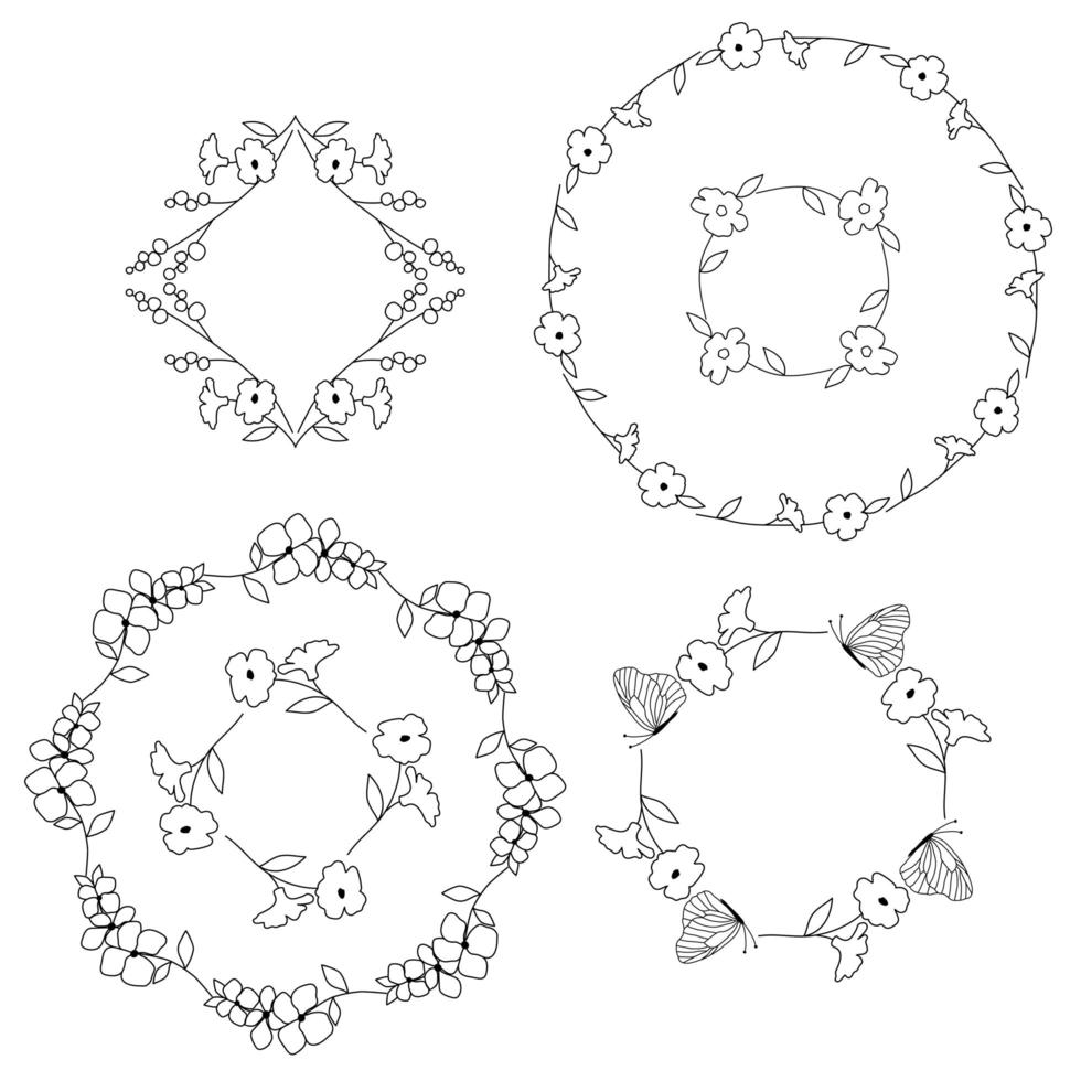 handgezeichnete florale botanische Rahmen vektor