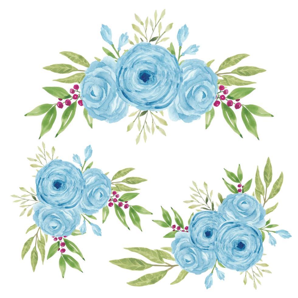 akvarell handmålade blå ros blommor bukett samling vektor