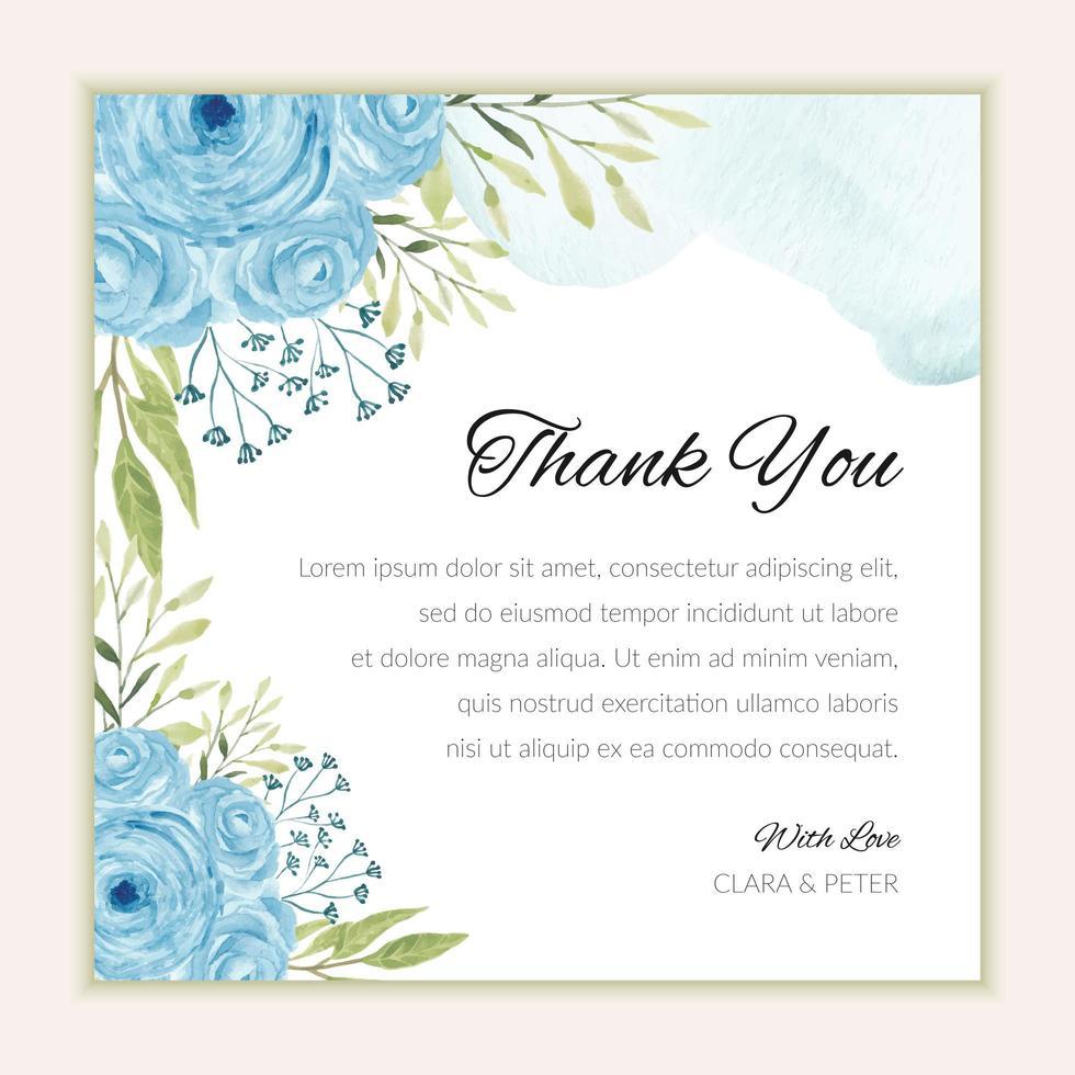 tackkortsmall med akvarellblå rosor vektor