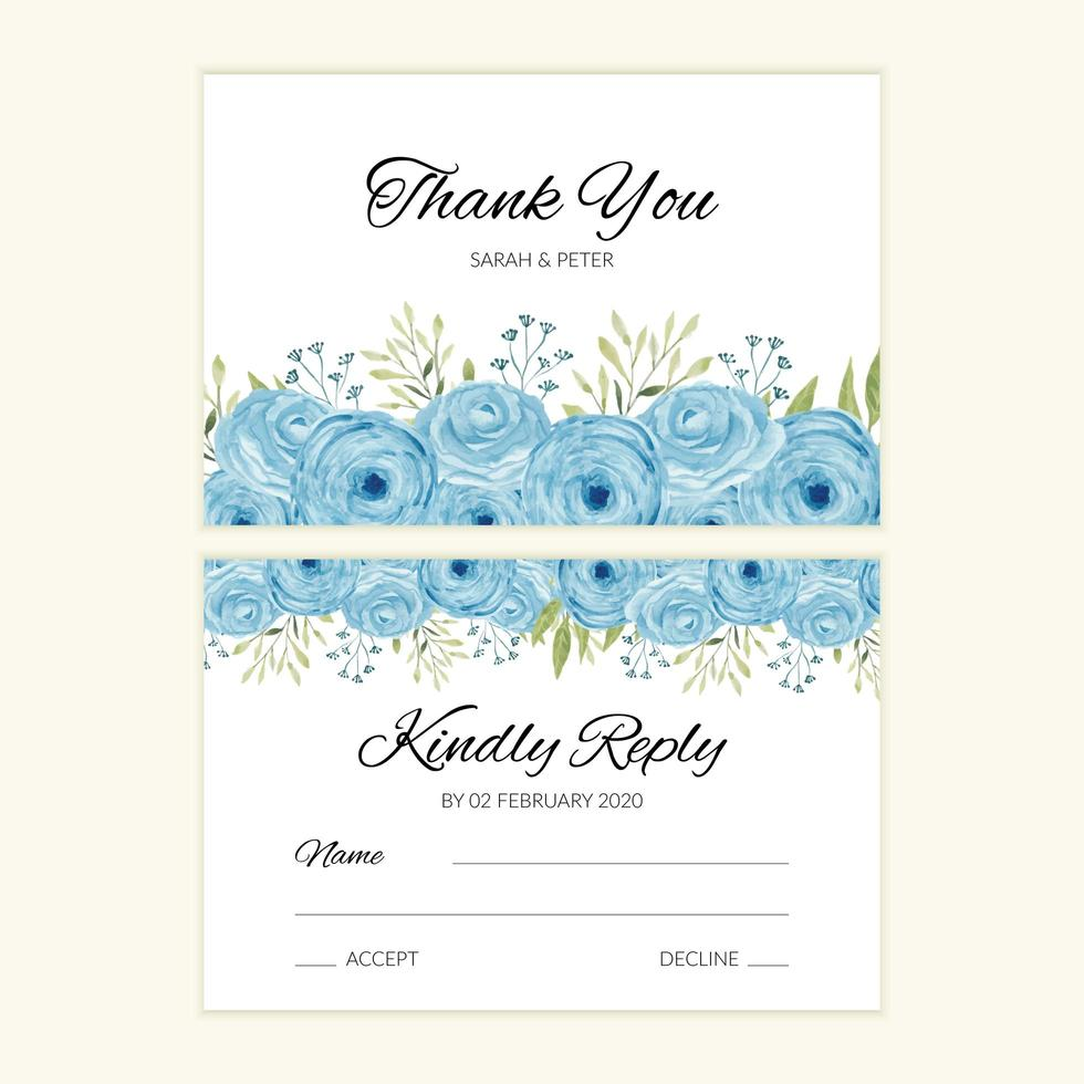bröllop svar kort mall med blå akvarell ros dekoration vektor