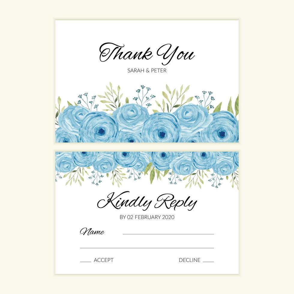 Hochzeitsantwortkartenschablone mit blauer Aquarellrosendekoration vektor