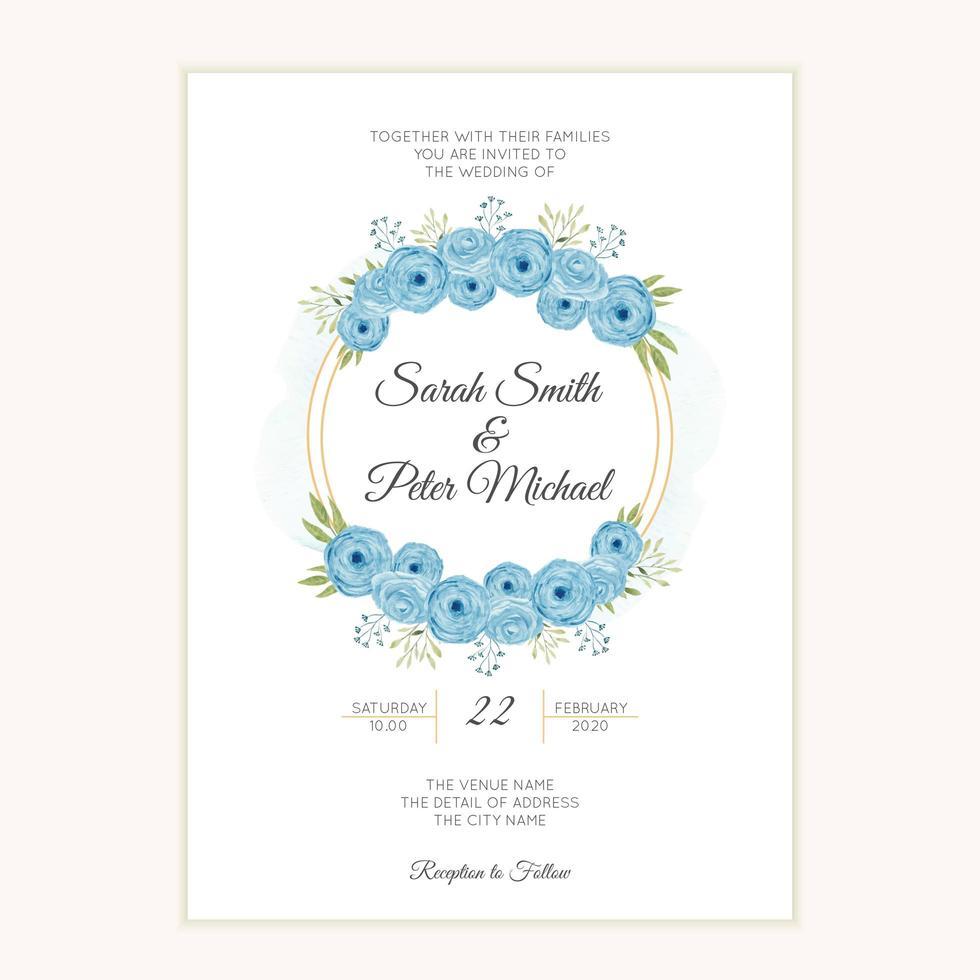 bröllop inbjudningsmall med akvarell blå blomma krans vektor