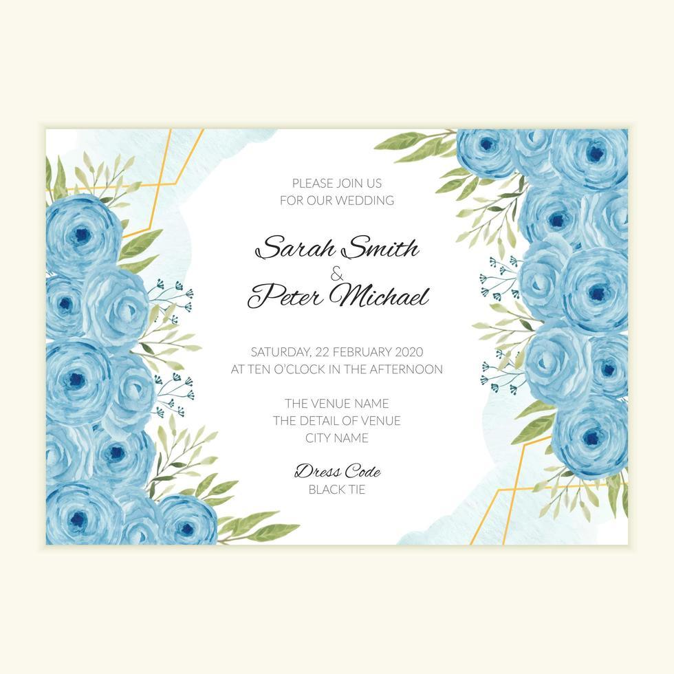 akvarell bröllop inbjudningskort med blå rosor vektor