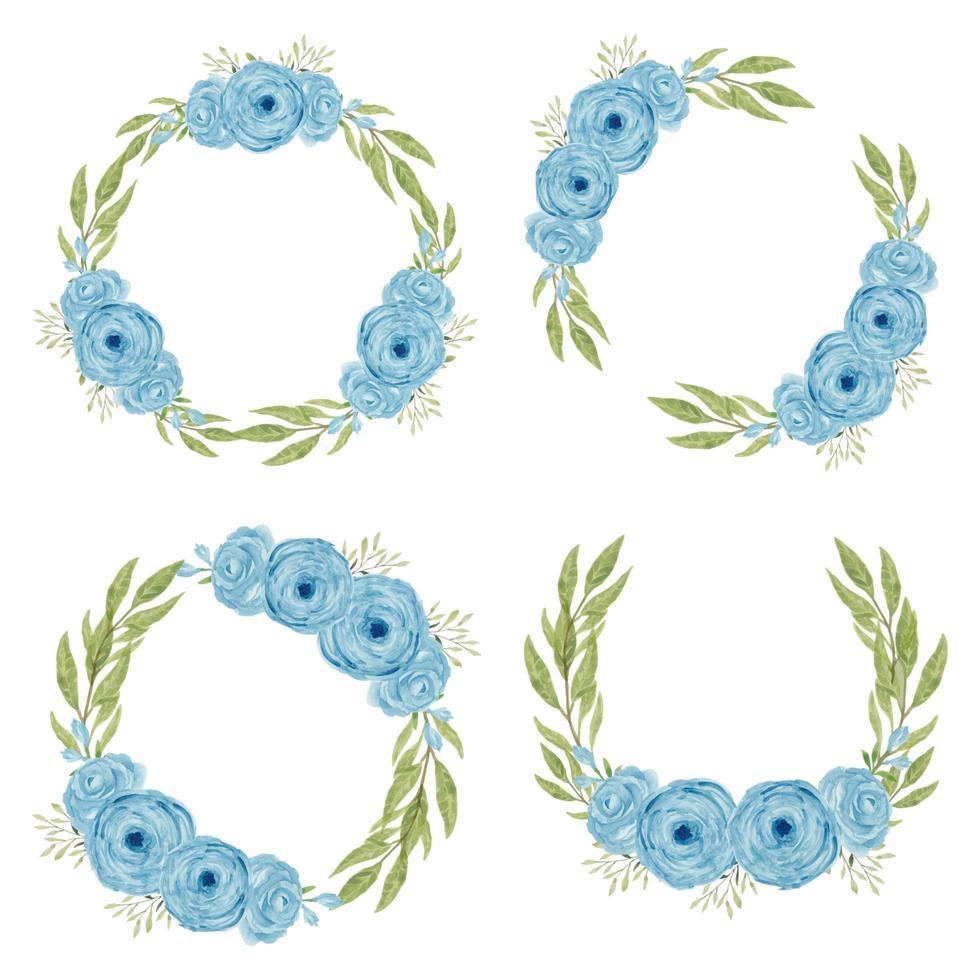 Satz blaue Rosenblumenkränze vektor