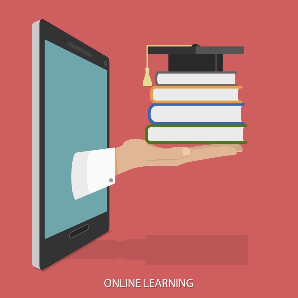 lämna in surfplatta som håller böcker med examen cap vektor