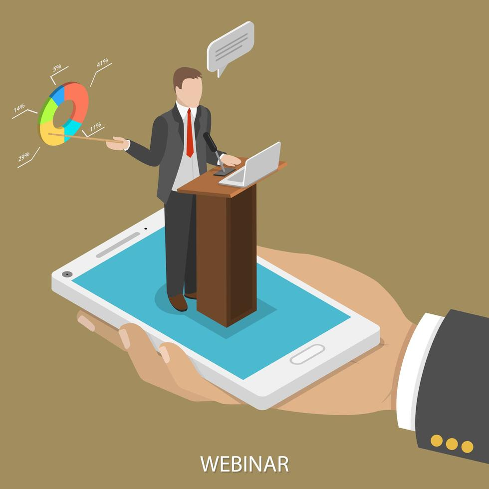 Webkonferenz zum mobilen isometrischen Design vektor