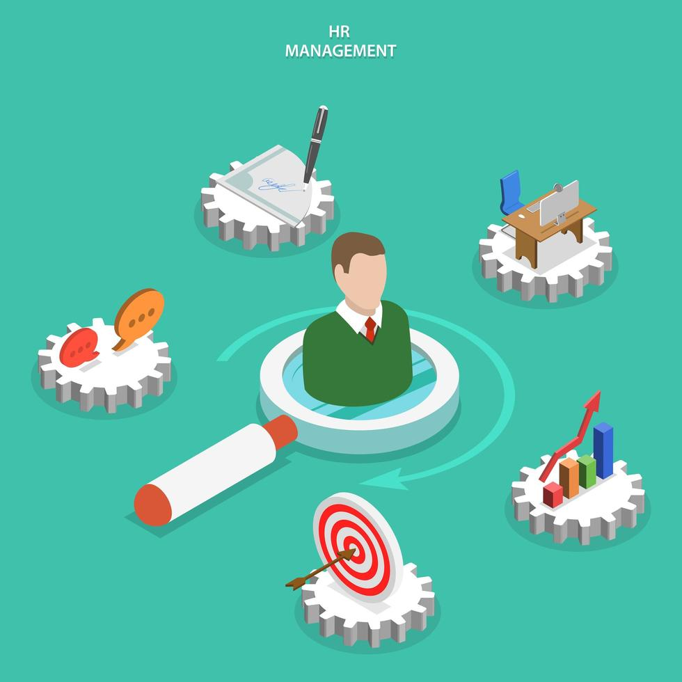 Männerbüste umgeben von HR-Management-Ikonen vektor