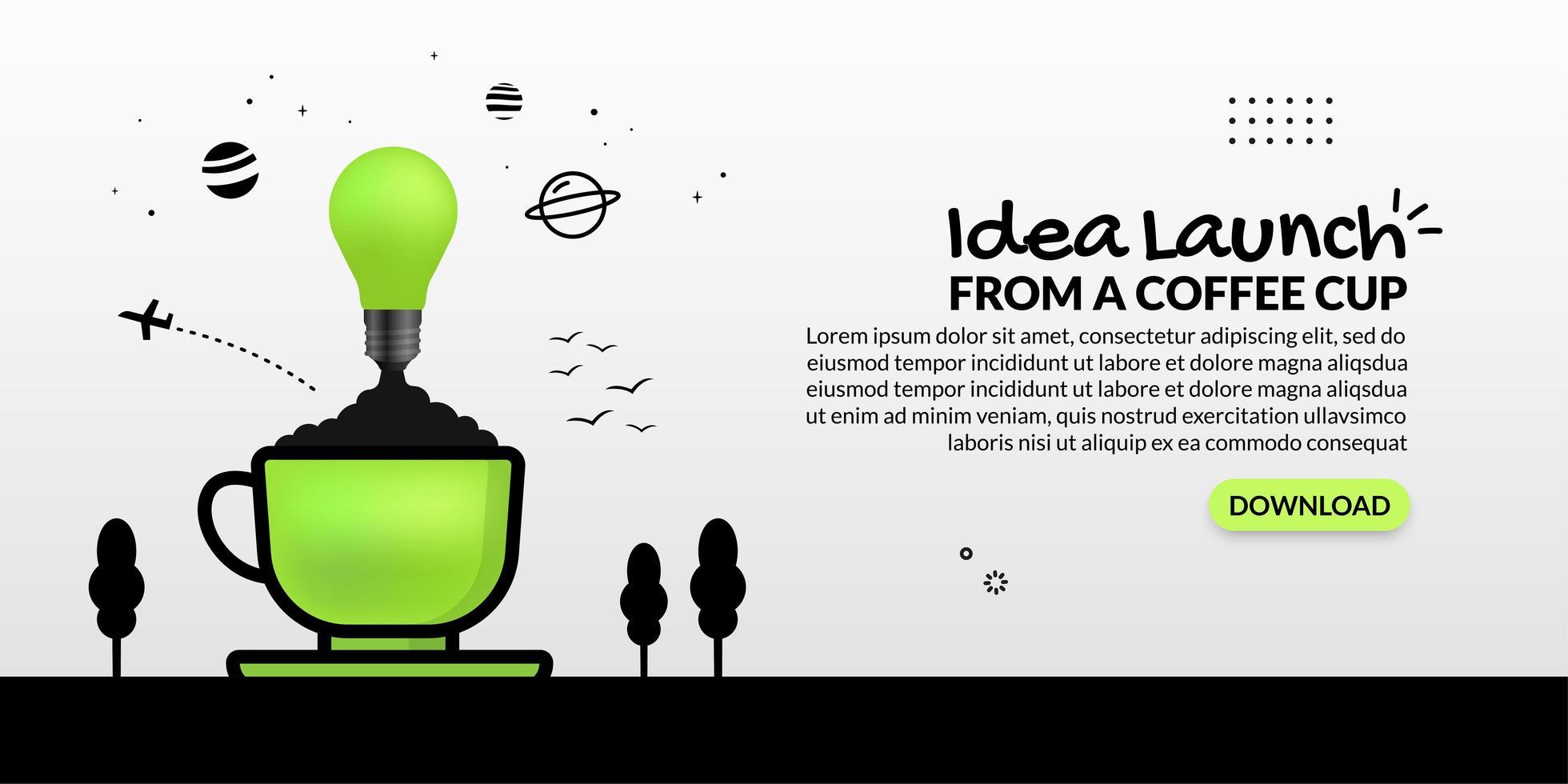 glödlampa som lanseras från kaffekoppen vektor