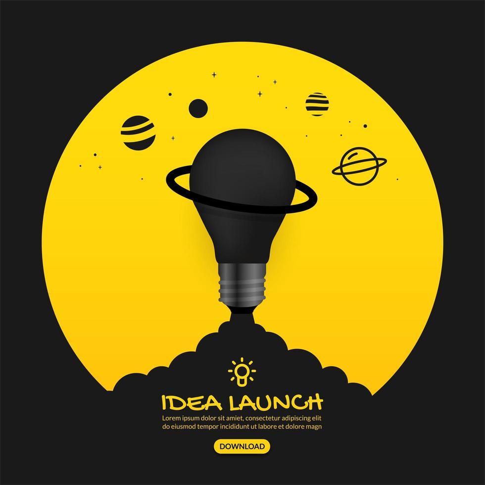 glödlampa på gul lansering ut i rymden vektor