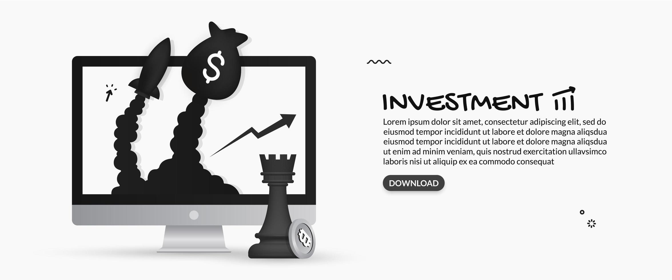 pengarpåse och raket som skjuts ut ur skärmen vektor