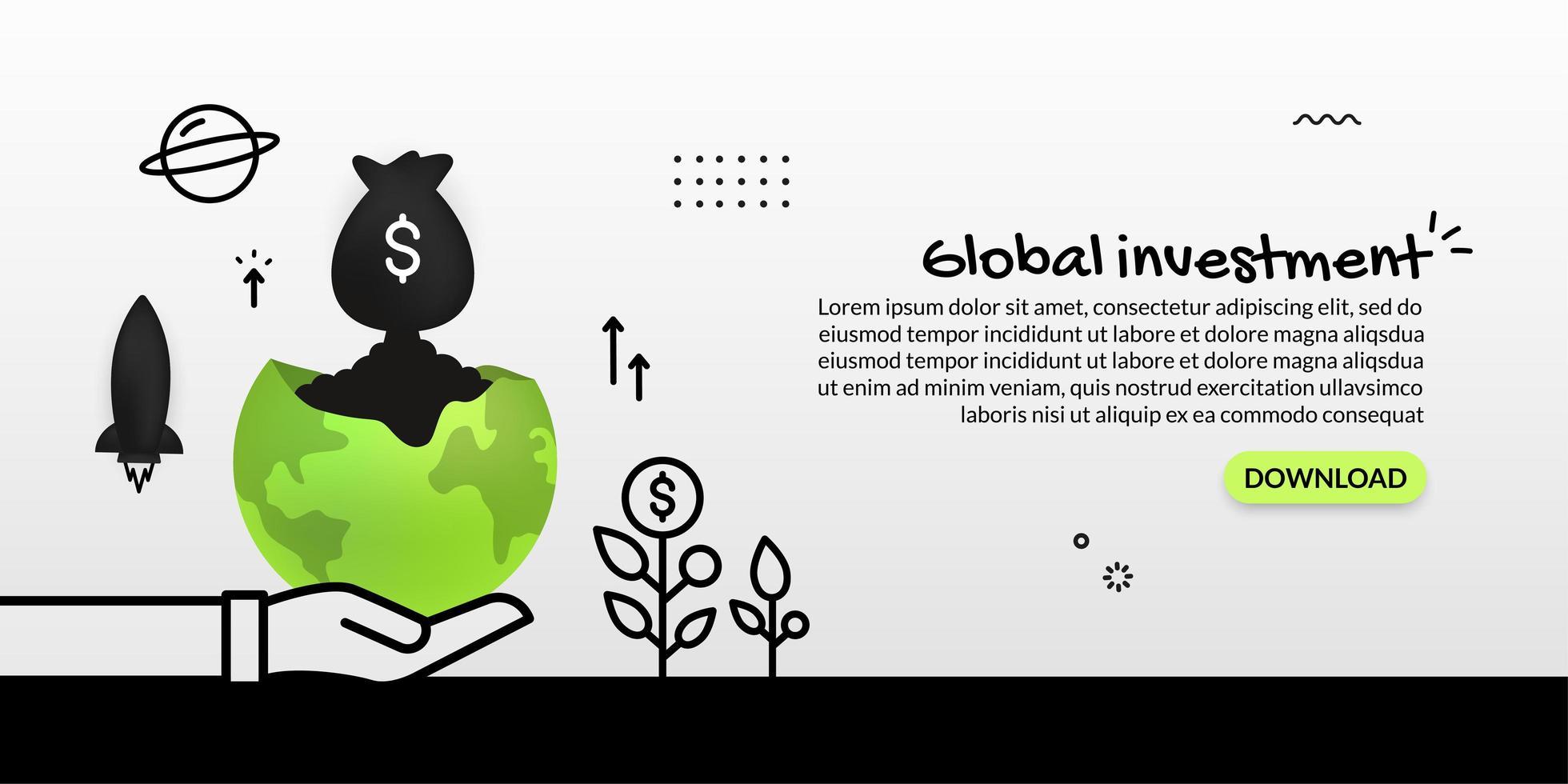 Geldsack startet aus dem Planet Investment-Konzept vektor
