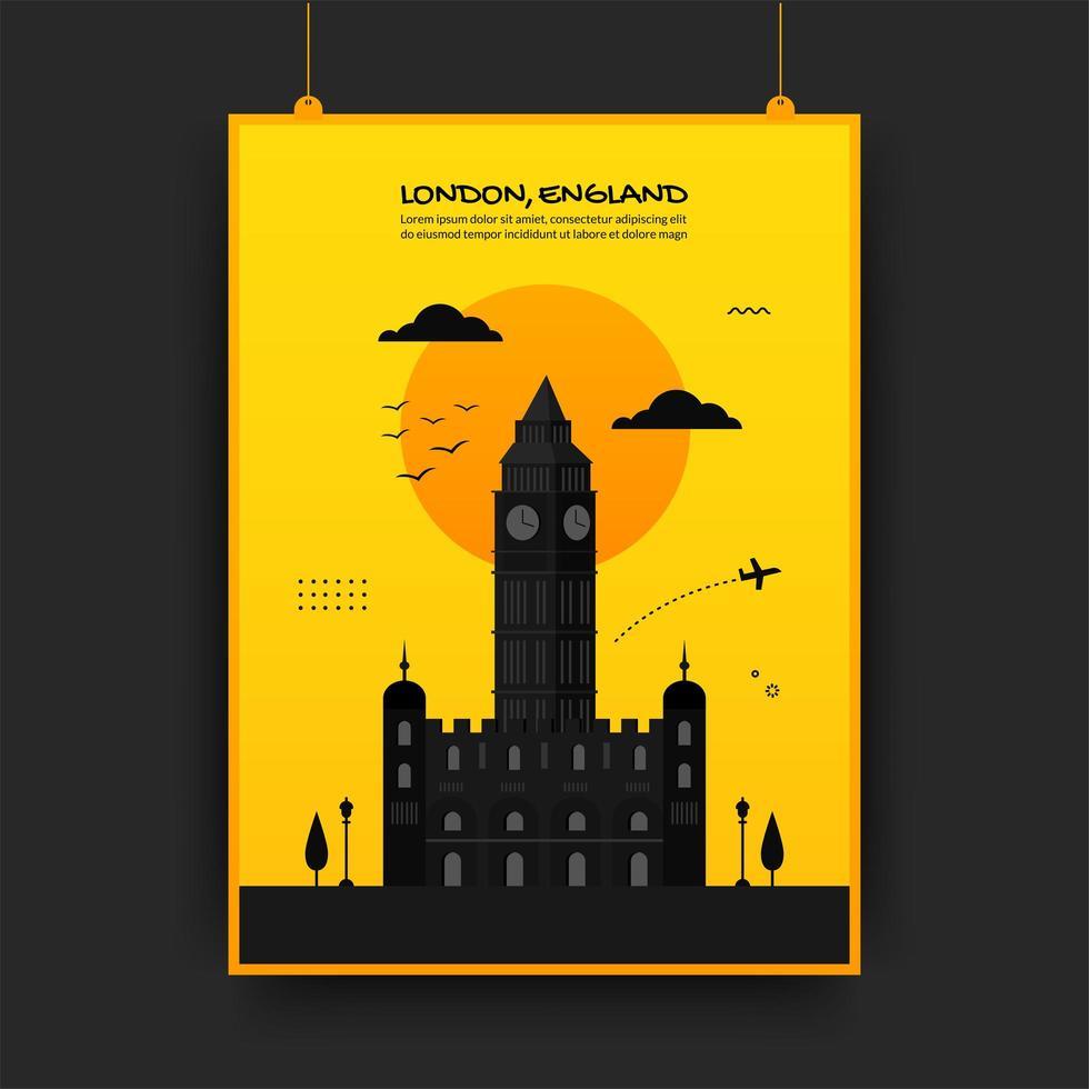englands resande affisch i gult och svart vektor