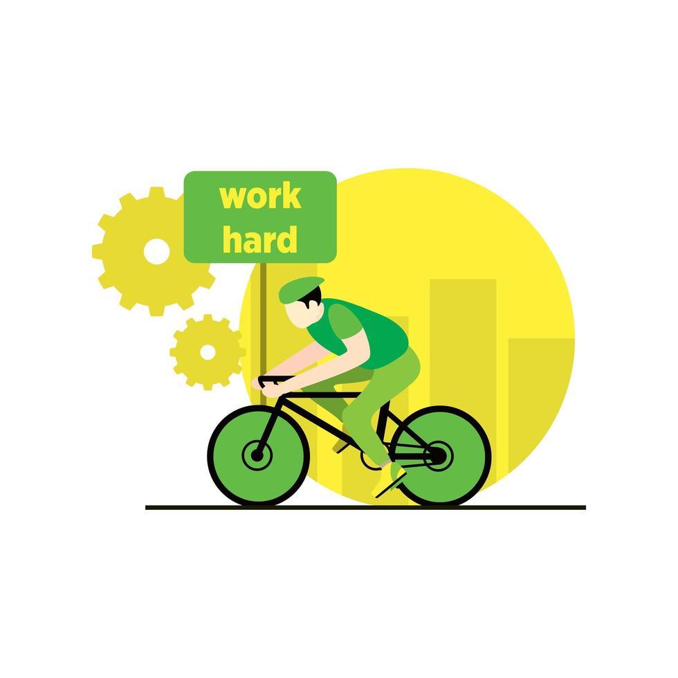 Mann, der hart am Fahrrad arbeitet vektor