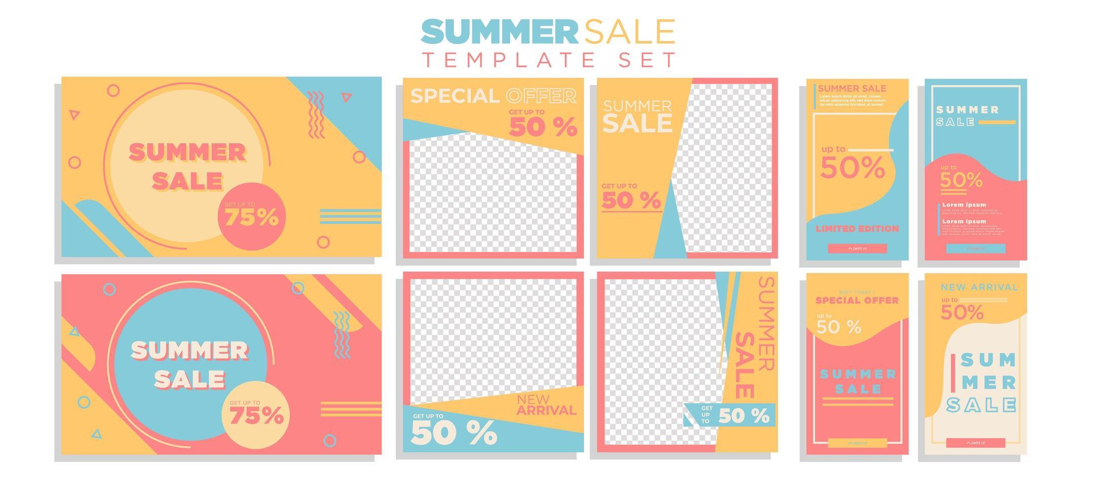 Sommerverkauf Social Media Story und Bannersammlung vektor