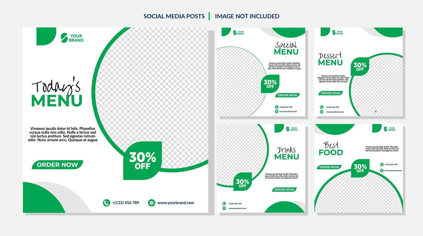 Social Media-Vorlagen für Lebensmittelverkauf im weißen und grünen Kreis vektor