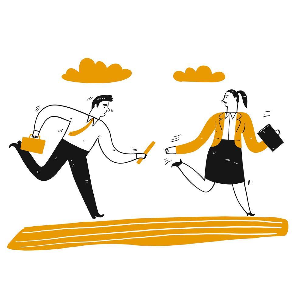 handritad affärsman och kvinna i stafett vektor