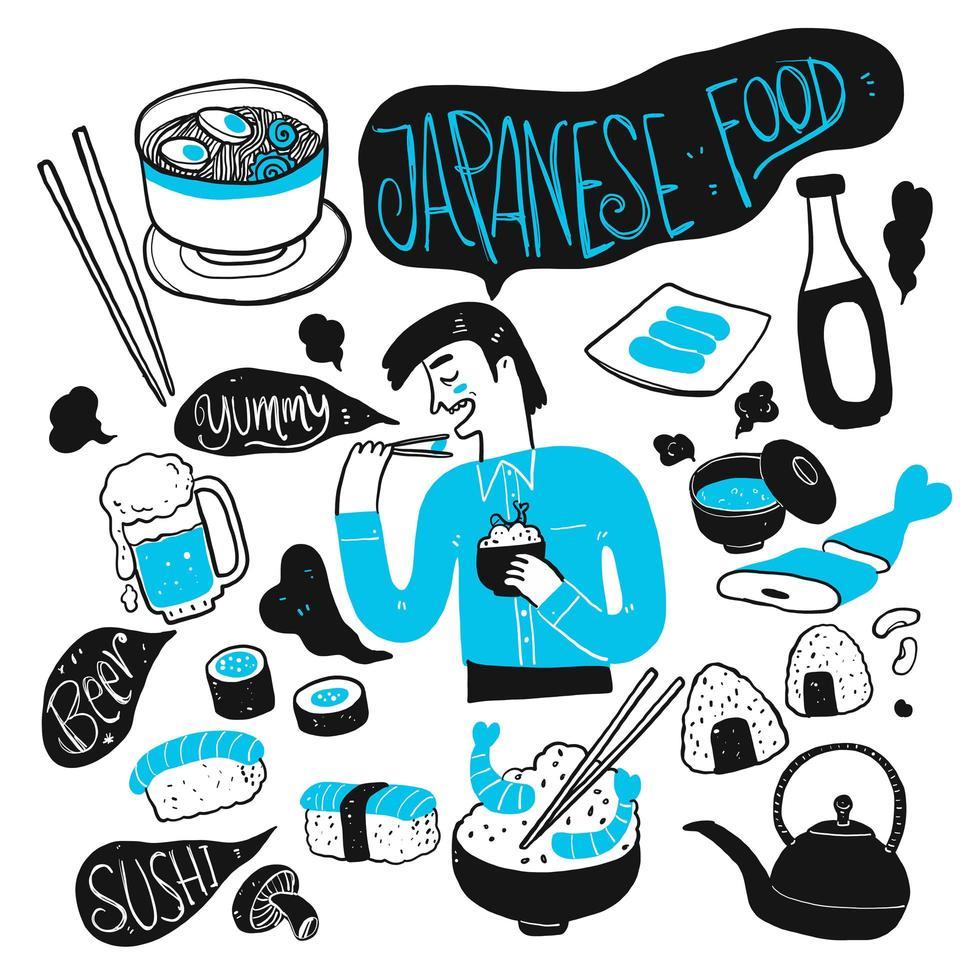 Hand gezeichneter Mann und japanisches Essen vektor