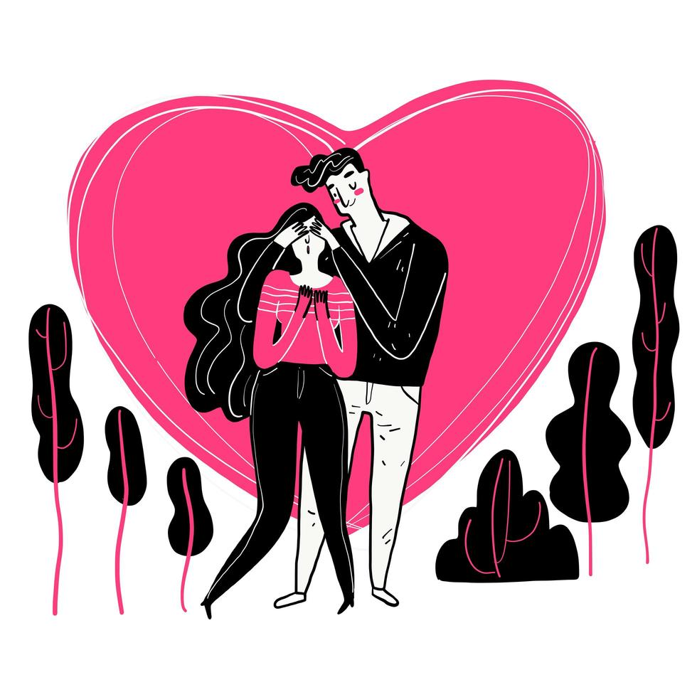 Hand gezeichnetes Paar mit rosa Herz hinter ihnen vektor