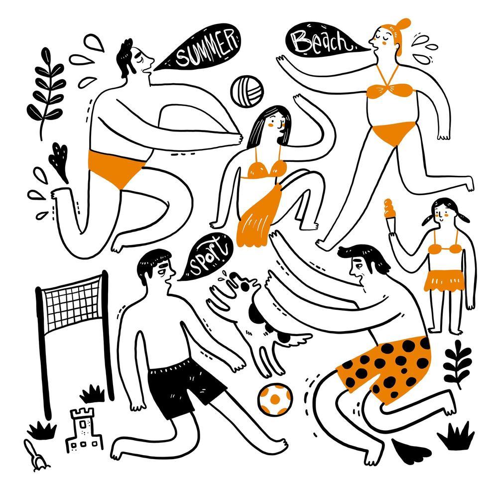 Sommersammlung von handgezeichneten Personen vektor