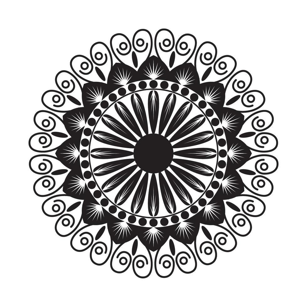 schwarzes Mandala mit Blumenstil vektor