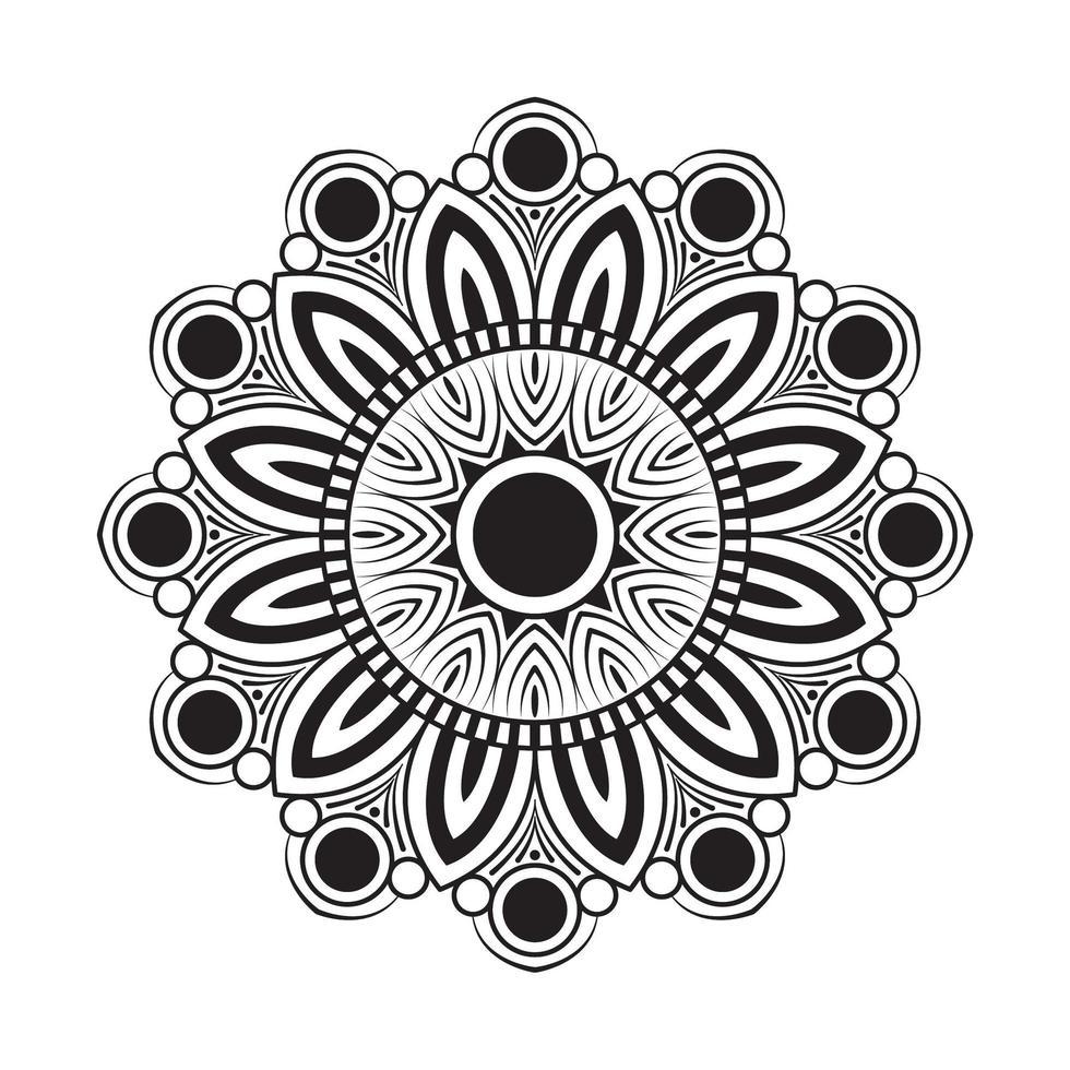 Mandala mit weißen und schwarzen Blumen vektor