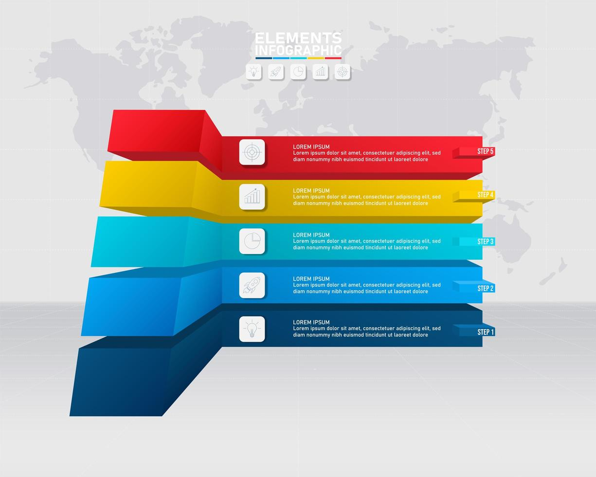 Infografik Vorlage mit 5 bunten 3D-Optionen vektor