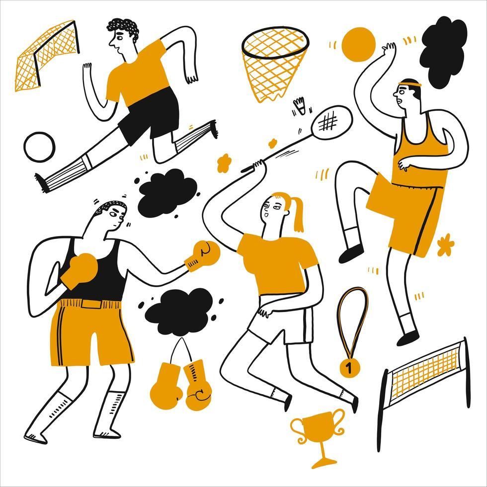 Hand gezeichnete Leute, die Fußball, Basketball und mehr spielen vektor