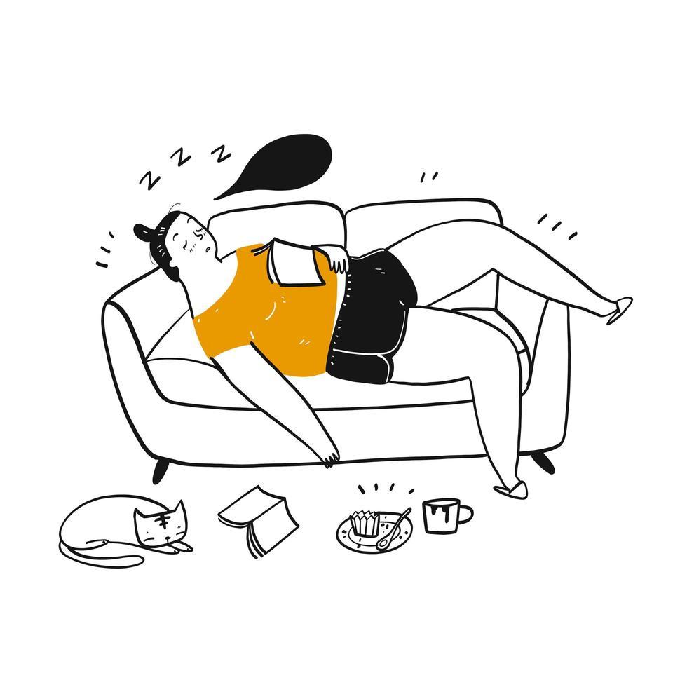 Hand gezeichnete Frau schlafend auf dem Sofa vektor
