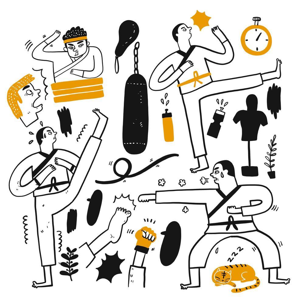 handgezeichnetes Kampfkunstset vektor