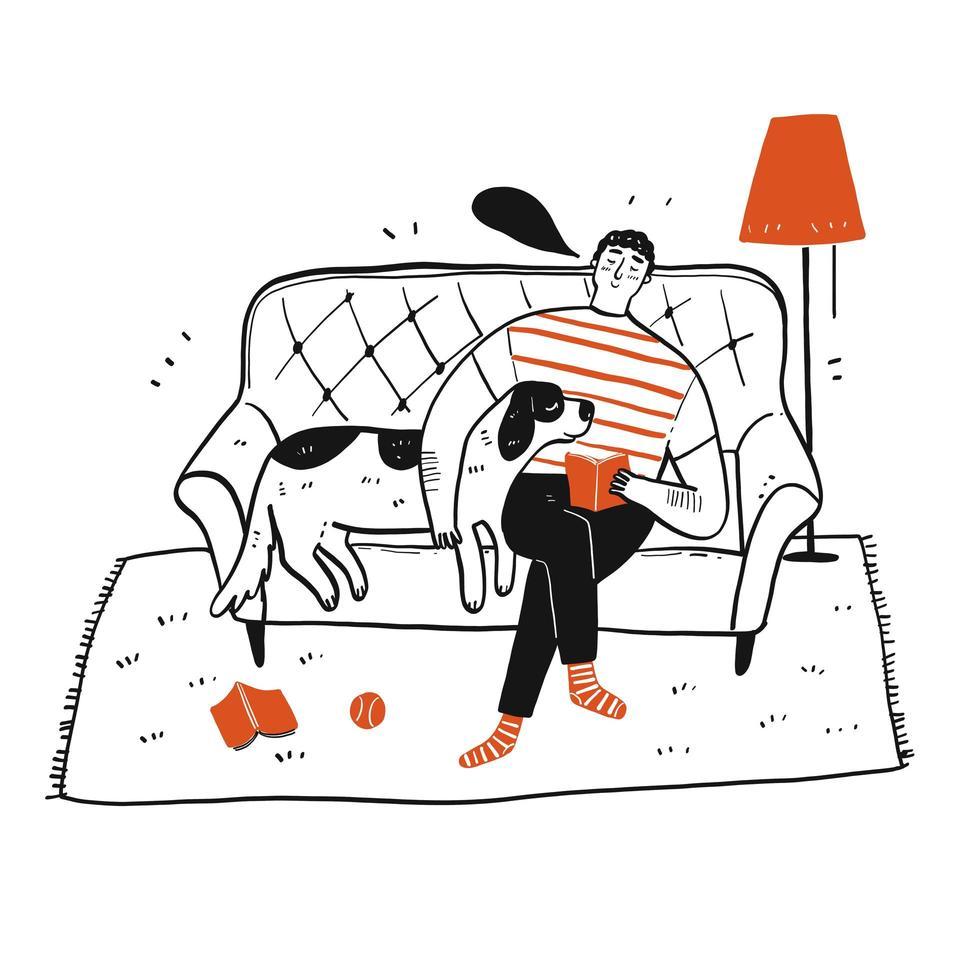 Hand gezeichneter Mann und Hund auf der Couch vektor