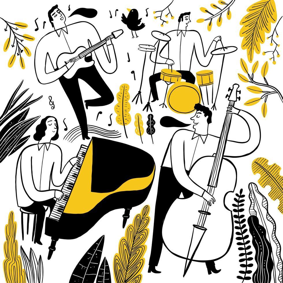 handgezeichnete Gruppe von Musikern vektor