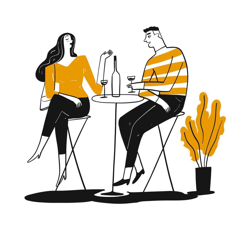 Hand gezeichnetes Paar, das in der Kneipe trinkt vektor