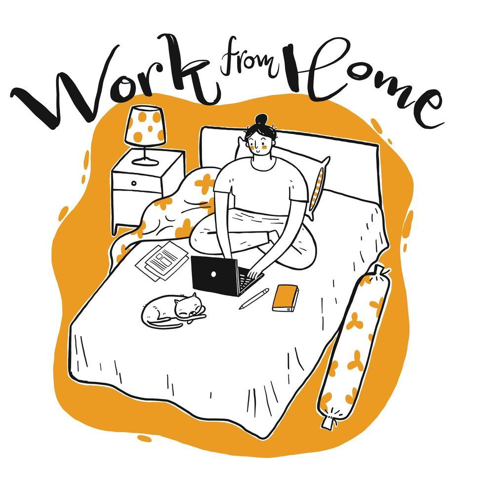 handritad kvinna som arbetar i sängen vektor