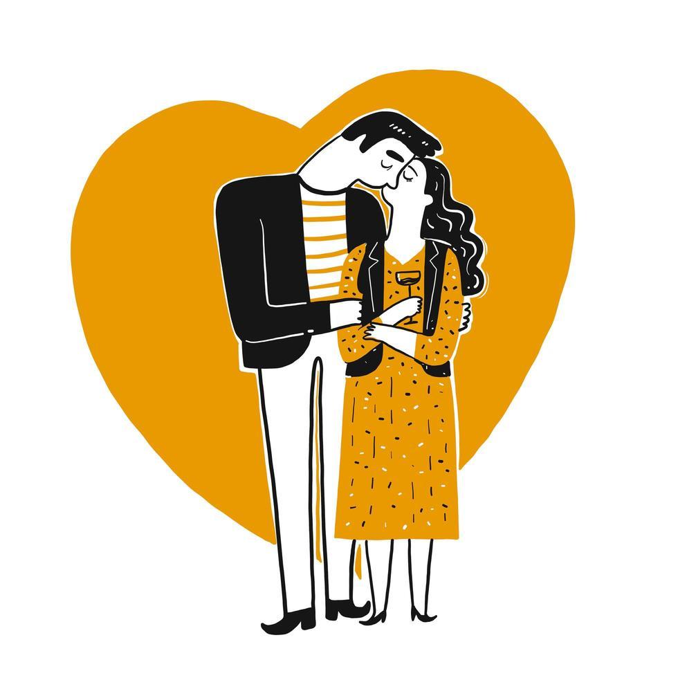 Paar vor Herz küsst sich vektor