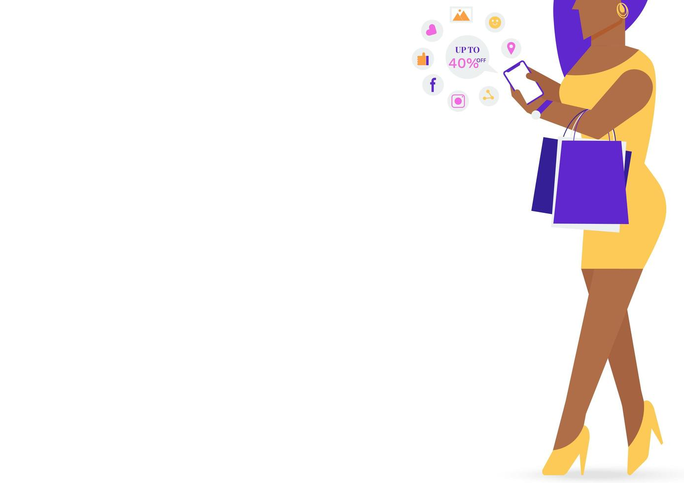 svart kvinna som bär shoppingväska och på sociala medier vektor