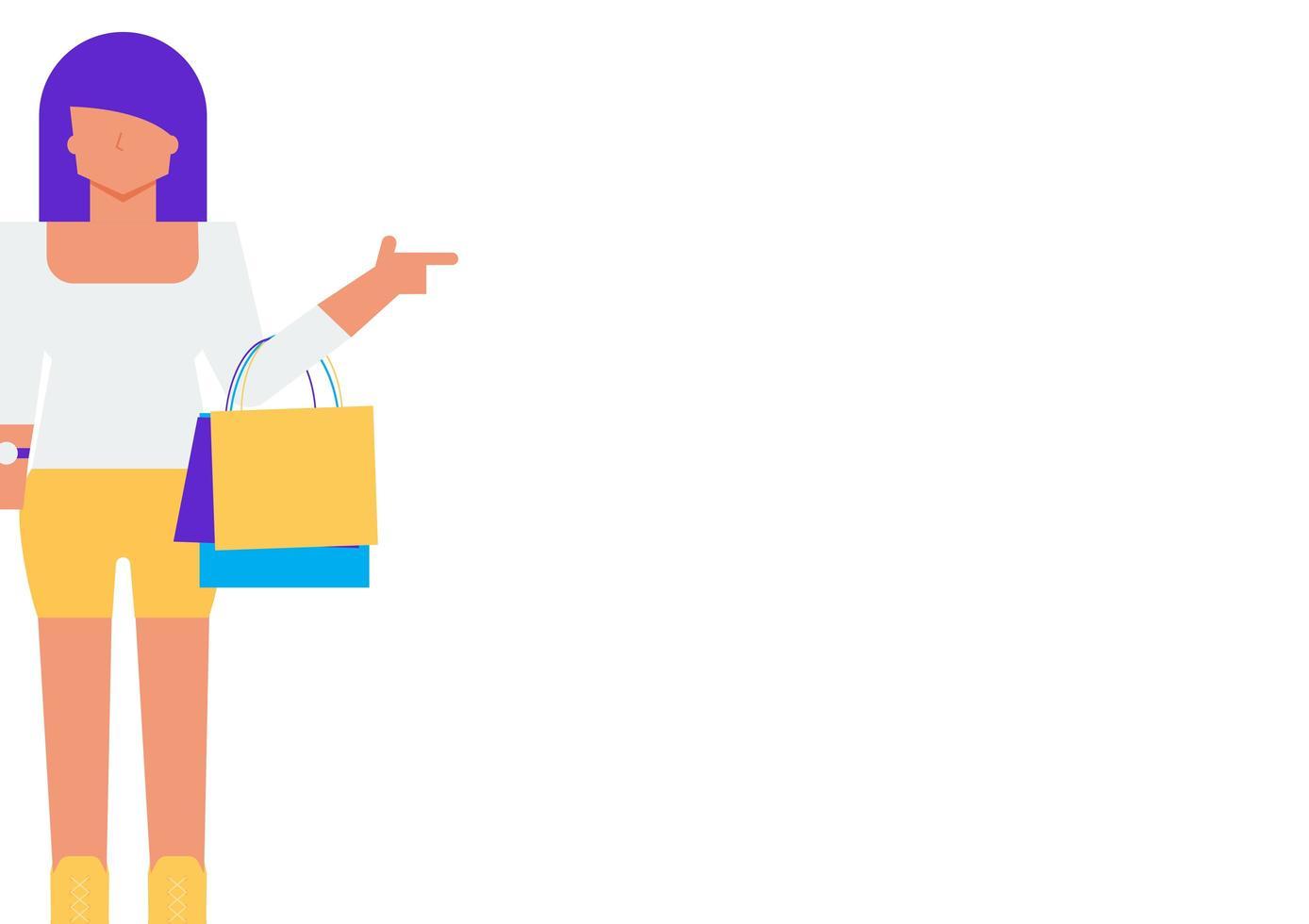 Frauenfigur, die Einkaufstasche auf Weiß trägt vektor