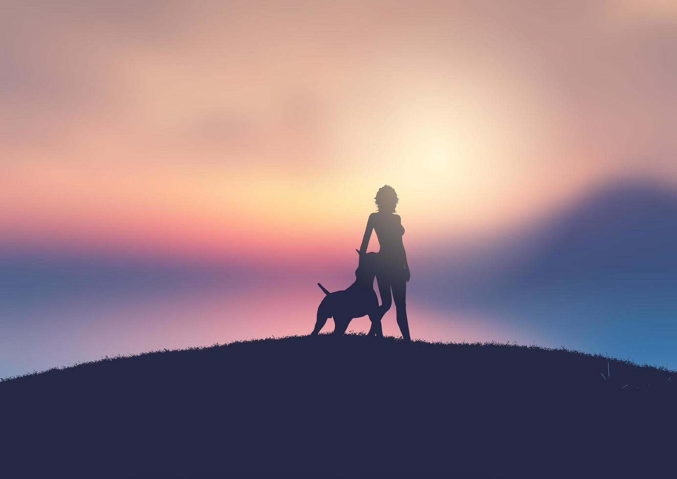 silhuett av en kvinna och hund mot solnedgången vektor