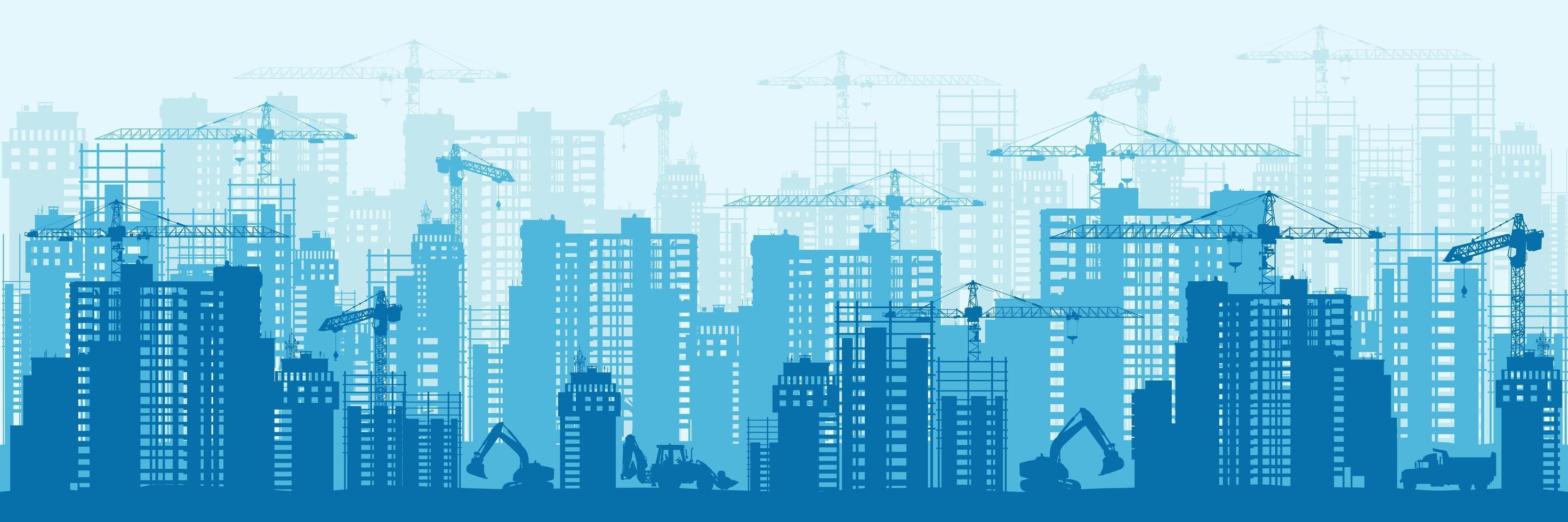 blaues Stadtentwicklungsschattenbilddesign vektor