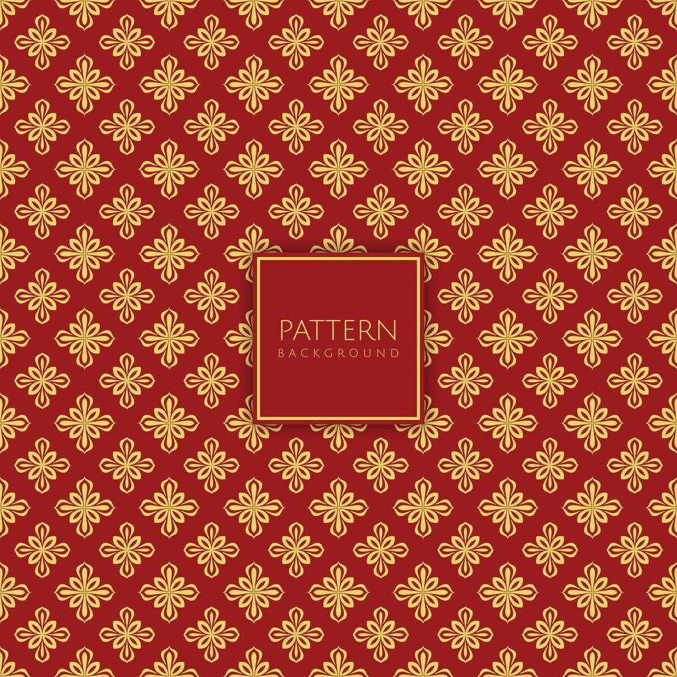 dekoratives Muster aus Gold und rotem Diamant vektor