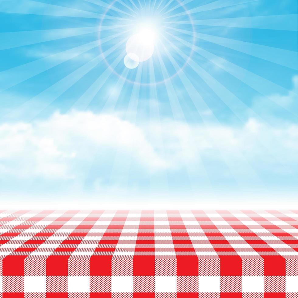 gingham picknickbord mot blå molnig himmel vektor
