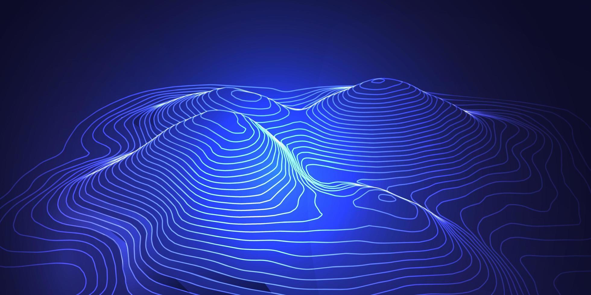 Topografisches Kartenbanner-Design im 3D-Stil vektor