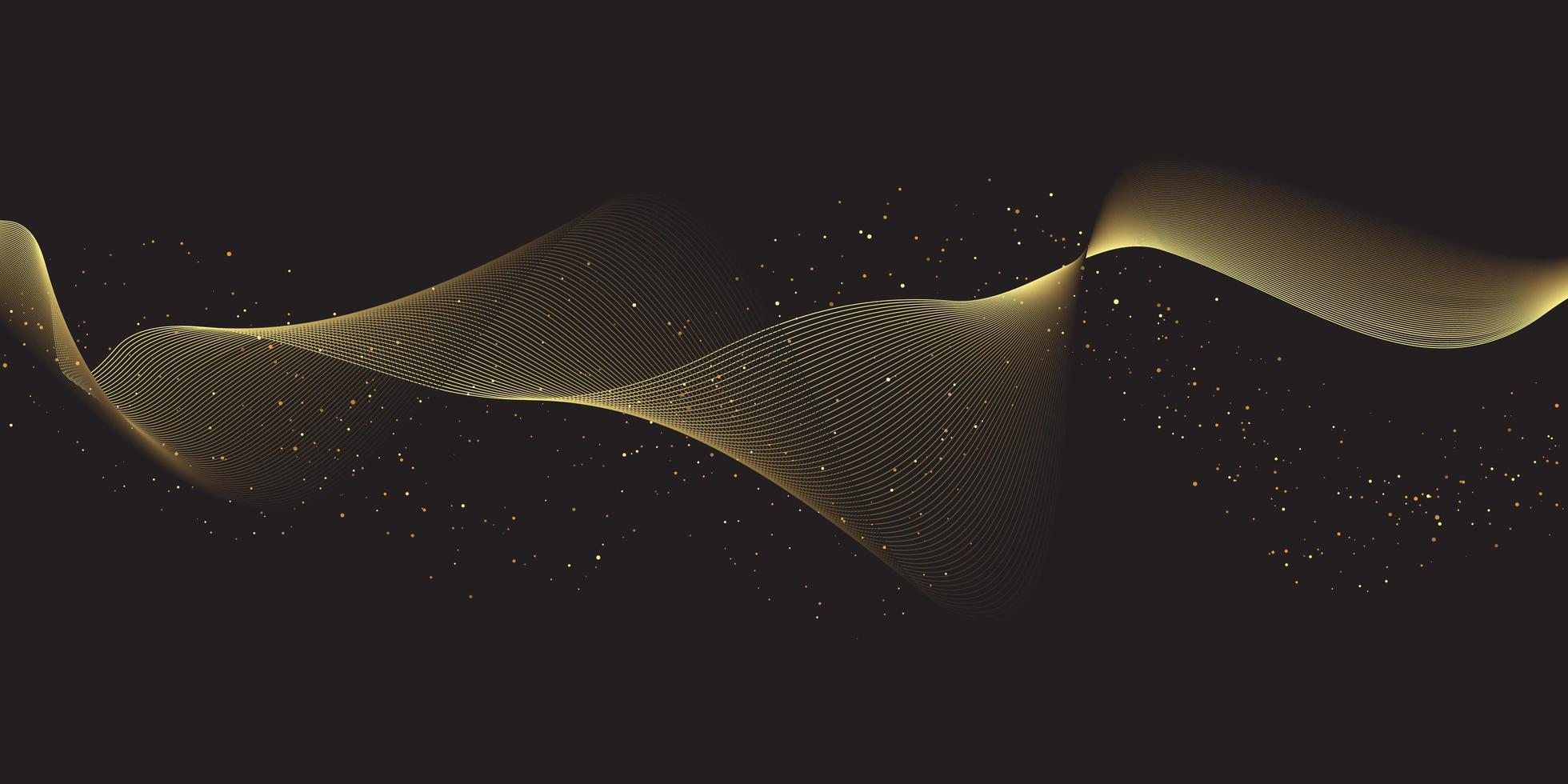 glitzernde fließende Goldlinien vektor