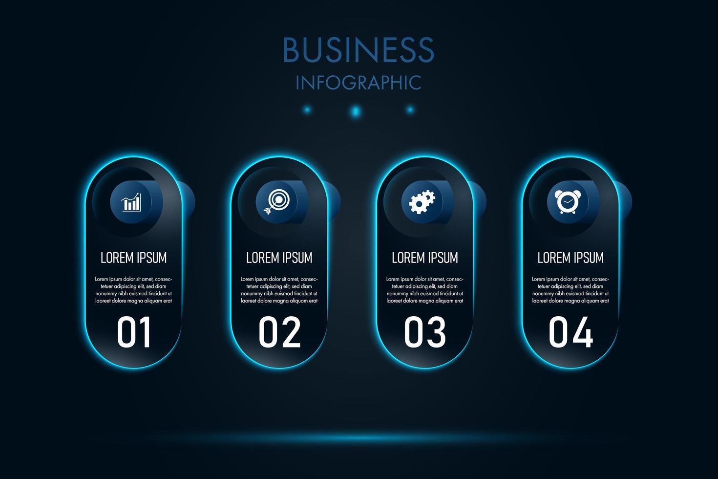 blå neon kapsel nusiness infographic mall vektor